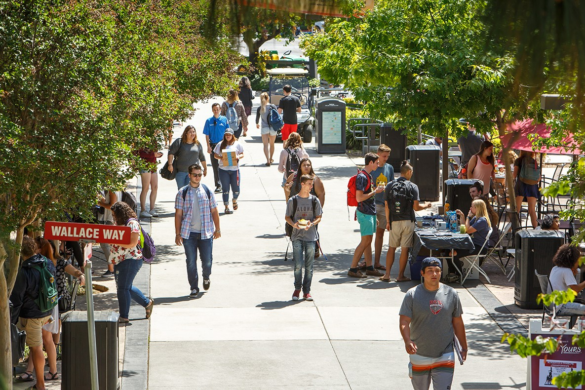 Students travel to and from class and other activities along Cougar Walk on APU's East Campus.